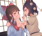 2girls ascot bare_shoulders black_hair blush bow breasts brown_hair commentary_request covering_another's_mouth detached_sleeves eye_contact frills from_side hair_bow hair_tubes hakurei_reimu hat index_finger_raised light_smile long_hair looking_at_another medium_breasts multiple_girls parted_lips pom_pom_(clothes) profile puffy_short_sleeves puffy_sleeves red_bow red_eyes red_headwear red_vest ribbon-trimmed_sleeves ribbon_trim shameimaru_aya shirt short_hair short_sleeves sidelocks simple_background sliding_doors small_breasts soku_(bluerule-graypray) tokin_hat touhou upper_body vest violet_eyes white_background white_shirt wide_sleeves yellow_neckwear