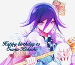 1boy bangs blue_eyes blue_hair character_name checkered checkered_scarf crown dangan_ronpa_(series) dangan_ronpa_v3:_killing_harmony english_commentary fur_trim grey_background hair_between_eyes happy_birthday highres holding looking_at_viewer male_focus mask mini_crown no_nose ouma_kokichi parted_lips pink_robe purple_hair royal_robe scarf scepter simple_background smile solo teeth tilted_headwear upper_body violet_eyes zhifeiji_(feijiiiiii)