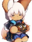 1other absurdres alternate_hair_length alternate_hairstyle amiya_(arknights) amiya_(arknights)_(cosplay) animal_ears arknights blue_skirt blush_stickers character_request coat cosplay creature eyebrows_visible_through_hair furry highres hooded_coat horizontal_pupils made_in_abyss nanachi_(made_in_abyss) originium_slug_(arknights) overcoat pleated_skirt rabbit_ears short_hair skirt solo tab_head trait_connection white_hair yellow_eyes
