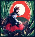 1girl animal_ears bamboo bamboo_forest brooch brown_hair dress forest full_moon hanafuda highres imaizumi_kagerou itomugi-kun jewelry long_hair long_sleeves moon nature red_background red_dress red_eyes solo touhou white_dress wolf_ears