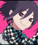 1boy absurdres bangs black_hair black_scarf checkered checkered_background checkered_neckwear checkered_scarf danganronpa_(series) danganronpa_v3:_killing_harmony face grey_jacket grin hair_between_eyes highres jacket looking_at_viewer male_focus nyu_(bbpp08) ouma_kokichi pink_background pink_eyes portrait scarf smile solo teeth white_scarf