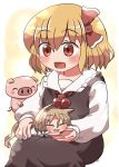 2girls :3 :d ^_^ animal_ears bangs black_skirt black_vest blonde_hair bow closed_eyes eyebrows_visible_through_hair fox_ears fox_tail hair_between_eyes hair_bow highres holding_another kudamaki_tsukasa long_sleeves looking_at_another minigirl multiple_girls open_mouth pig red_bow red_eyes red_neckwear rokugou_daisuke romper rumia short_hair sitting skirt smile tail touhou touhou_cannonball vest