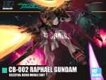 00_gundam 00_raiser artist_name back-to-back bandai blue_eyes brayanong999 character_name dual_wielding explosion firing floating glowing glowing_eyes gun gundam gundam_00 gundam_raphael highres holding holding_gun holding_sword holding_weapon logo logo_parody mecha mobile_suit no_humans science_fiction shoulder_cannon solo_focus space sword v-fin watermark weapon