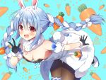 1girl :d animal_ear_fluff animal_ears bangs black_gloves black_leotard blue_background blue_hair blush bow braid breasts brown_legwear bunny-shaped_pupils bunny_tail carrot_hair_ornament commentary_request detached_sleeves don-chan_(usada_pekora) dress eyebrows_visible_through_hair food-themed_hair_ornament fur-trimmed_dress fur-trimmed_gloves fur_trim gloves hair_between_eyes hair_bow hair_ornament hololive leotard long_hair mauve multicolored_hair open_mouth pantyhose puffy_short_sleeves puffy_sleeves rabbit_ears rabbit_girl red_eyes shoes short_eyebrows short_sleeves small_breasts smile strapless strapless_dress strapless_leotard tail thick_eyebrows twin_braids twintails two-tone_hair upper_teeth usada_pekora v very_long_hair virtual_youtuber white_bow white_dress white_footwear white_hair white_sleeves