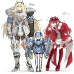 3girls anger_vein armor bangs bare_shoulders blonde_hair blue_armor blue_eyes boots breastplate breasts center_frills circlet detached_collar detached_sleeves dress earrings fate/grand_order fate_(series) faulds frills full_body gauntlets gawain_(fairy_knight)_(fate) greaves grey_eyes height_chart height_difference heterochromia horns jewelry kan_(aaaaari35) lancelot_(fairy_knight)_(fate) large_breasts laughing long_hair mask medium_breasts multiple_girls open_mouth pauldrons pink_hair pointy_ears red_dress red_footwear shoulder_armor sidelocks smile thigh-highs thigh_boots tristan_(fairy_knight)_(fate) white_hair yellow_eyes