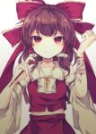 1girl bandaged_arm bandages bangs bare_shoulders bow breasts brown_hair closed_mouth commentary_request cowboy_shot cuts detached_sleeves frilled_hair_tubes frills hair_bow hair_tubes hakurei_reimu holding holding_pen injury long_hair looking_at_viewer midriff pen red_bow red_eyes red_skirt red_vest sato_imo self_harm simple_background skirt small_breasts smile solo touhou vest white_background