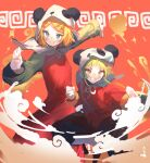 2girls animal_hood black_pants blonde_hair blue_eyes chinese_clothes clouds commentary dress fighting_stance green_hair gumi hair_ornament hairclip hood kagamine_rin multiple_girls outstretched_arms panda_hood pants red_background red_dress red_shirt shijohane shirt short_hair vocaloid whorled_clouds yellow_eyes yi_er_fan_club_(vocaloid)