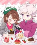 >_< 1boy 1girl ahoge bangs bede_(pokemon) blush cake cake_slice chocolate_cake closed_eyes closed_mouth coat commentary_request curly_hair dessert dynamax_band eating feeding food food_on_face fork fruit gloria_(pokemon) gloves grey_hair heart holding holding_fork open_mouth partially_fingerless_gloves plate pokemon pokemon_(game) pokemon_swsh popped_collar purple_coat satori_(sa_bird08) short_hair single_glove strawberry sweatdrop tongue