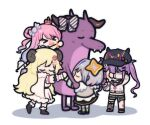 >_< 5girls amane_kanata angel angel_wings bangs baseball_cap bibi_(tokoyami_towa) black_headwear blonde_hair blue_hair blue_wings boots bow candy_hair_ornament cape chibi closed_eyes closed_mouth colored_inner_hair commentary_request cropped_jacket crown crying curled_horns demon_girl demon_horns detached_sleeves diagonal-striped_bow dragon dress fake_horns fangs fishnet_legwear fishnets food-themed_hair_ornament full_body fur-trimmed_boots fur-trimmed_cape fur-trimmed_dress fur-trimmed_sleeves fur_trim gradient gradient_hair gradient_wings grey_jacket group_hug hair_ornament hair_rings hairclip halo hat highres himemori_luna holding_hands hololive horn_bow horns hug jacket kiryu_coco kiryu_coco_(dragon) long_hair long_sleeves mini_crown multicolored multicolored_hair multicolored_wings multiple_girls nekotaririn one_side_up open_mouth pink_hair sheep_girl sheep_horns shoes short_hair shorts silver_hair simple_background single_thighhigh smile standing star_halo streaked_hair striped striped_bow tearing_up tears thigh-highs tokoyami_towa tsunomaki_watame twintails virtual_youtuber white_background white_cape white_dress white_jacket white_wings wings