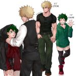 1boy 1girl bakugou_katsuki bangs black_gloves black_pants black_shirt black_shorts black_vest blonde_hair boku_no_hero_academia collarbone earphones earrings freckles gloves green_eyes green_hair green_hoodie green_pants grey_background grin height_difference highres holding_hands hood hoodie jacket jewelry long_sleeves looking_at_another mask midoriya_izuku mouth_mask multiple_views muscular muscular_male nail_polish open_clothes open_jacket pants red_footwear red_nails red_shirt rin_(rinriemie) shirt shirt_half_tucked_in shirt_tucked_in shoes shorts skindentation smile striped striped_shirt teeth thigh-highs twitter_username vest white_shirt