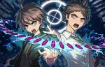 2boys :d ahoge bangs black_background brown_eyes brown_hair brown_jacket bullet butcher_shop collared_shirt danganronpa:_trigger_happy_havoc danganronpa_(series) danganronpa_2:_goodbye_despair floating floating_necktie floating_object green_background green_eyes green_jacket green_neckwear hinata_hajime jacket long_sleeves looking_at_viewer male_focus multiple_boys naegi_makoto necktie open_clothes open_jacket open_mouth shiny shiny_hair shirt short_hair short_sleeves smile upper_body upper_teeth