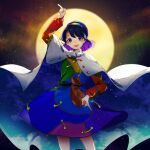 1girl bangs blue_eyes blue_hair cape dress highres looking_at_viewer moon multicolored multicolored_clothes multicolored_dress multicolored_hairband open_mouth papang patchwork_clothes pointing pointing_down pointing_up rainbow_gradient red_button short_hair sky_print smile solo tenkyuu_chimata touhou two-sided_cape two-sided_fabric white_cape