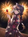 1girl :d absurdres animal_ears bangs black_hair candy_apple cat_ears cat_tail commentary_request drill_hair eyebrows_visible_through_hair fireworks food from_behind green_eyes hair_between_eyes hair_ornament head_tilt highres holding holding_food japanese_clothes karyl_(princess_connect!) kimono long_hair looking_at_viewer looking_back multicolored_hair night night_sky open_mouth princess_connect! sidelocks sky smile solo star_(sky) starry_sky streaked_hair tail two-tone_hair wide_sleeves yukata zeroillya