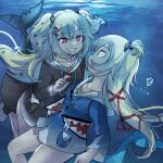 2girls akai_haato alternate_eye_color blonde_hair blue_eyes blue_hoodie bottomless bubble collarbone commentary cosplay dark_persona dual_persona eye_contact fish_tail gawr_gura gawr_gura_(cosplay) hair_ornament hair_ribbon hairclip heart heart_hair_ornament himuhino hololive hololive_english hood hoodie long_hair looking_at_another multiple_girls pocket red_eyes red_nails ribbon shark_tail sharp_teeth smirk tail teeth underwear wide-eyed