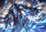 1boy armor black_cloak blue_fire chain cloak fate/grand_order fate_(series) fire full_armor glowing glowing_eyes hands_on_hilt highres horns king_hassan_(fate) nasaniliu pixiv_fate/grand_order_contest_2 skull skull_mask spikes sword torn_clothes translation_request weapon