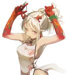 1girl absurdres arknights armpits bare_arms bead_bracelet beads bracelet breasts china_dress chinese_clothes closed_mouth commentary_request dragon_girl dragon_horns dragon_tail dress earrings eyebrows_visible_through_hair gaanc_23_(tomosuge) hands_up highres horns jewelry looking_at_viewer medium_breasts multicolored_hair nian_(arknights) nian_(unfettered_freedom)_(arknights) official_alternate_costume pointy_ears ponytail red_horns red_lips redhead sidelocks simple_background solo streaked_hair tail tying_hair upper_body violet_eyes white_background white_dress white_hair white_tail