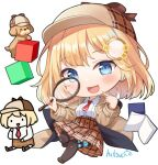 1girl :d ^_^ animal bangs big_head black_legwear blonde_hair blue_eyes blush book breasts brown_footwear brown_headwear brown_jacket brown_skirt bubba_(watson_amelia) chibi closed_eyes collared_shirt commentary cube dog english_commentary eyebrows_visible_through_hair full_body hair_ornament hitsukuya holding hololive hololive_english jacket loafers long_hair magnifying_glass medium_breasts monocle_hair_ornament multiple_views necktie open_book open_clothes open_jacket open_mouth plaid plaid_headwear plaid_skirt pleated_skirt red_neckwear shirt shoes short_necktie signature simple_background skirt smile thigh-highs virtual_youtuber watson_amelia white_background white_shirt