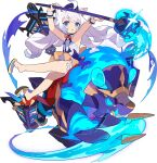 1girl ahoge animal_ear_fluff animal_ears armpits arms_up artist_request bangs beret blue_eyes blue_fire blue_hair blue_headwear blue_sclera blush brooch cat_ears cat_girl character_request child closed_mouth colored_sclera couette_(world_flipper) creature dress eyebrows_visible_through_hair feet fire flat_chest frilled_dress frills full_body gradient_hair hat highres holding holding_staff jewelry lantern leg_up long_hair looking_at_viewer multicolored_hair non-web_source official_art open_mouth riding shiny shiny_hair shoe_dangle shoes short_dress sidelocks sitting sleeveless sleeveless_dress sparkle staff tassel transparent_background two-tone_hair very_long_hair white_dress white_hair world_flipper wrist_cuffs yellow_footwear