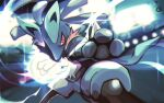 blurry commentary_request fighting_stance fur furry gen_4_pokemon glowing incoming_attack legs_apart light lucario pokemon pokemon_(creature) red_eyes solo sparkle spikes stadium yottur