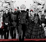 6+boys 6+girls baton_(instrument) black_dress cosplay cowboy_hat dress drill_hair gas_mask ghostface ghostface_(cosplay) hat highres karaageoishiina marching marching_band mask monochrome multiple_boys multiple_girls my_chemical_romance petals plague_doctor_mask rose_petals ruins skull_mask the_black_parade_(album) top_hat twin_drills uniform