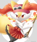 bracelet braixen closed_mouth clothed_pokemon cosplay eyewear_on_headwear fire gen_6_pokemon hand_up hat highres holding holding_stick jewelry looking_to_the_side mixed-language_commentary orange_eyes orange_skirt pink_headwear pleated_skirt pokemon pokemon_(creature) pokemon_(game) pokemon_xy sasabunecafe serena_(pokemon) serena_(pokemon)_(cosplay) skirt solo stick sunglasses twitter_username white-framed_eyewear white_fur