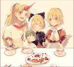4girls :3 :d arm_up ascot atoki black_bow black_sleeves blonde_hair blush border bow breasts brown_dress brown_shirt cake closed_mouth commentary_request cuffs cup dress eyebrows_visible_through_hair feeding flower food fork giving green_eyes green_hair hair_bow hands_on_own_cheeks hands_on_own_face hands_up highres holding holding_fork horns hoshiguma_yuugi japanese_clothes kimono kisume kurodani_yamame long_hair medium_breasts mizuhashi_parsee multiple_girls oni open_mouth plate pointy_ears ponytail red_eyes red_horns saucer shackles shirt short_hair short_sleeves simple_background single_horn smile sugar_bowl tea teacup teapot touhou white_kimono white_neckwear white_shirt yellow_background  _ 