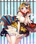 1girl alternate_costume apple basket bead_bracelet beads black_footwear blue_hairband bracelet breasts brown_hair commentary_request crown food fruit hairband highres holding holding_basket holding_food jewelry koizumi_hanayo looking_at_viewer love_live!_school_idol_project medium_breasts mini_crown multicolored multicolored_clothes multicolored_skirt nakano_marulove_live! open_mouth shoes short_hair skirt striped striped_skirt twitter_username violet_eyes
