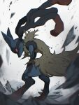 alu_drp blurry closed_mouth commentary floating_hair furry gen_4_pokemon highres hunched_over looking_back lucario mega_lucario mega_pokemon orange_eyes pokemon pokemon_(creature) rock solo spikes standing yellow_fur