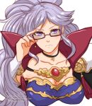 artist_name breasts choker closed_mouth commission commissioner_upload earrings fire_emblem fire_emblem:_genealogy_of_the_holy_war fire_emblem_heroes glasses highres ishtar_(fire_emblem) jewelry looking_at_viewer necklace ponytail purple_hair serious sierra117renner simple_background solo violet_eyes watermark