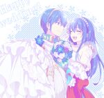 1boy 1girl blue_eyes blue_hair blush bouquet caeda_(fire_emblem) carrying closed_eyes couple dress english_text fire_emblem fire_emblem:_mystery_of_the_emblem fire_emblem:_new_mystery_of_the_emblem fire_emblem:_shadow_dragon_and_the_blade_of_light fire_emblem_heroes flower gloves hetero hiyori_(rindou66) long_hair looking_at_another marth_(fire_emblem) open_mouth princess_carry smile twitter_username wedding_dress white_dress white_gloves