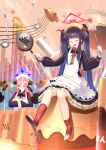 2girls apron black_hair blue_archive closed_eyes commentary_request frying_pan fuuka_(blue_archive) green_eyes hair_between_eyes halo highres juri_(blue_archive) long_hair mirya(artist) multiple_girls musical_note open_mouth pot rice school_uniform sitting