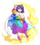 1girl arm_up bag bangs belt blue_dress blue_hairband blue_sky boots bow brown_belt cloak clouds cloudy_sky collar dairi dress eyebrows_visible_through_hair fire green_dress green_hairband hair_between_eyes hairband hand_up highres hiragana kanji katakana long_sleeves looking_at_viewer multicolored multicolored_clothes multicolored_dress multicolored_hairband open_mouth orange_dress orange_sleeves pink_bow pink_dress pink_footwear purple_dress purple_hair purple_hairband red_dress red_sleeves short_hair simple_background sky sky_print smile solo standing tachi-e tenkyuu_chimata touhou violet_eyes white_background white_cloak white_collar yellow_bag yellow_dress yellow_hairband yellow_sleeves