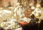 america_(hetalia) axis_powers_hetalia blonde_hair blue_eyes book bottle brown_eyes brown_hair canada_(hetalia) chair cup france_(hetalia) glasses globe gun hachi_(sharplet) hat hong_kong_(hetalia) kumajirou_(hetalia) magazine necktie newspaper nunchaku panda plate rifle sealand_(hetalia) short_hair sitting sleeping sunbeam united_kingdom_(hetalia) weapon