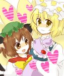 animal_ears blonde_hair brown_eyes brown_hair chen touhou yakumo_ran yellow_eyes zawameki