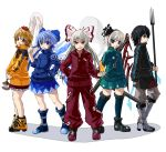 alternate_costume black_hair blonde_hair blue_eyes blue_hair bokuden boots bow brown_eyes cirno contemporary fire fujiwara_no_mokou hair_bow houjuu_nue jeweled_pagoda katana konpaku_youmu konpaku_youmu_(ghost) long_hair multiple_girls polearm red_eyes sentai short_hair silver_hair super_sentai sword toramaru_shou touhou trident weapon wings ⑨