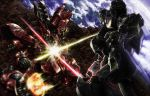 char's_counterattack char's_counterattack damage damaged earth electricity energy_sword epic group_battle gundam highres mecha motion_blur nu_gundam realistic retsujin sazabi severed_limb sword weapon