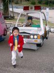 arsene_lupin_iii arsene_lupin_iii_(cosplay) car chasing child cosplay hat jacket lupin_iii motor_vehicle multiple_boys necktie photo police_car running vehicle zenigata_kouichi zenigata_kouichi_(cosplay)
