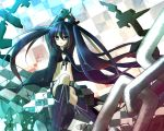 amene_kurumi black_hair black_rock_shooter black_rock_shooter_(character) boots coat long_hair midriff scar solo sword twintails very_long_hair weapon