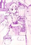 bottle food_stand graphite_(medium) grill japanese_clothes monochrome mystia_lorelei okamisty short_hair sketch sleeves_rolled_up solo tasuki touhou traditional_media vent_arbre wings