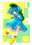 bag blue_dress blue_eyes blue_hair boots dress female hat kawashiro_nitori rubber_boots screw shinsui_uri solo striped_socks touhou twintails