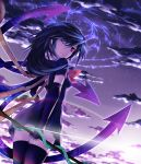 black_hair black_legwear black_thighhighs cloud clouds dress elbow_gloves gloves houjuu_nue long_hair looking_back magic_circle polearm red_eyes sharp_(renweixia) short_hair sky smile snake solo thigh-highs thighhighs touhou weapon wings wink zettai_ryouiki