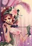brown_eyes brown_hair corset flower hair_ornament matsuo_hiromi original ribbon rose single_glove solo victorian