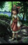 bad_id black_hair bow brown_eyes detached_sleeves face forest gohei hakurei_reimu highres japanese_clothes kurione_(pixiv) kurione_(zassou) letterboxed mary_janes miko nature ribbon shade shoes stairs touhou tree walking water