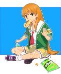 eating food green_eyes hatimoto long_hair loose_socks orange_hair school_uniform shoes sitting sleeves_rolled_up sneakers socks tokimeki_memorial tokimeki_memorial_2