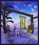 beach bed bedroom bird black_eyes book border brown_hair chair cloud clouds curtains dog feet_in_water haruno long_hair ocean sitting sky soaking_feet surreal tree water waves window windowboxed