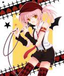bat_wings hat hinamori_amu microphone necktie pink_hair shorts shugo_chara! solo thighhighs wings yellow_eyes