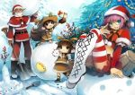 aqua_eyes boots brown_hair christmas christmas_tree dark_skin closed_eyes glasses grandia grandia_online official_art pointy_ears purple_hair santa_costume snow thigh-highs