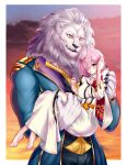1girl absurdres artist_request barefoot bogard_(fate) carrying fate/grand_order fate_(series) furry highres mash_kyrielight one_eye_covered pink_hair princess_carry violet_eyes