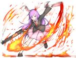 1girl animal_ears bangs black_jacket blazer blood blush breathing_fire brown_footwear collared_shirt commentary_request cookie_(touhou) fire full_body gun highres hisui_(cookie) holding holding_ear holding_gun holding_weapon jacket leg_up long_hair looking_at_viewer necktie pink_skirt purple_hair rabbit_ears red_eyes red_neckwear reisen_udongein_inaba shirt shitteru? shoes simple_background skirt socks solo swept_bangs touhou weapon white_background white_legwear white_shirt