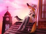 1girl akagiponnu bird blonde_hair blue_eyes boots capelet clock clock_tower fantasy gradient_sky hat high_heel_boots high_heels knee_boots long_hair looking_to_the_side on_roof original outdoors ribbon rooftop sitting skirt sky tower witch witch_hat wizard